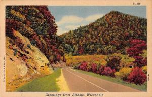 Adams Wisconsin Greetings From scenic road view linen antique pc Z44327