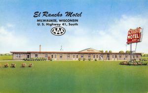 Milwaukee-Hales Corners-Wisconsin~Pop Machine & Playground~El Rancho Motel 1950s