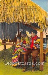 Seminole Indian Family at Home Everglades, FL, USA Unused