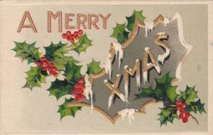 A Merry Xmas, Holly, gold detail,10-20s
