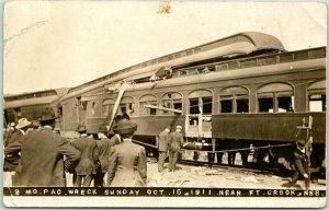 FORT CROOK, Nebraska RPPC Real Photo Postcard MO. PAC. WRECK Oct 15, 1911
