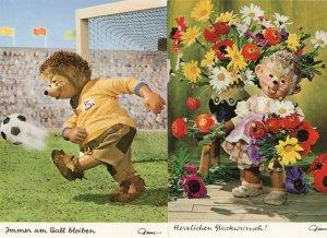 Mecki Football Soccer Player Flower Lady 2x German Postcard s