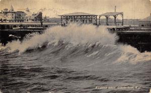 Asbury Park New Jersey~Large Wave on Boardwalk~Hotel~1909 B&W Postcard