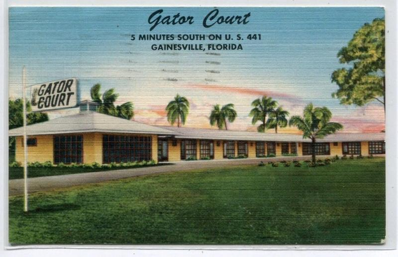 Gator Court Motel US 441 Gainesville Florida 1956 linen postcard
