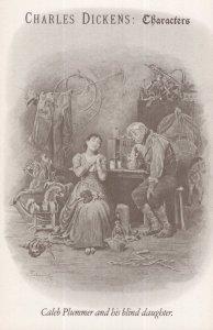 Caleb Plummer & His Blind Daughter Charles Dickens Book Postcard