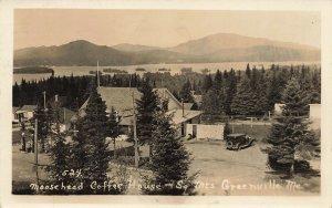 Greenville ME Moosehead Coffee House Gas Pumps 1934 Real Photo Postcard