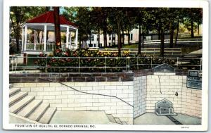El Dorado Springs, Missouri Postcard FOUNTAIN OF HEALTH Curteich Linen c1940s