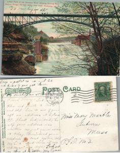 ANTIQUE 1908 POSTCARD GENESEE RIVER FALLS DRIVING PARK AVE BRIDGE ROCHESTER N.Y.