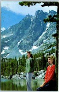 Rocky Mountain National Park RMNP Postcard Dream Lake Union Pacific RR c1940s