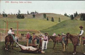 Cowboy & Horse Branding Cattle Out West
