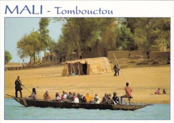 Mali Tombouctou Village Scene Natives In Dugout Canoe