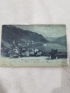 Antique Postcard entitled Montreaux et la Dent du Midi  Posted 1900