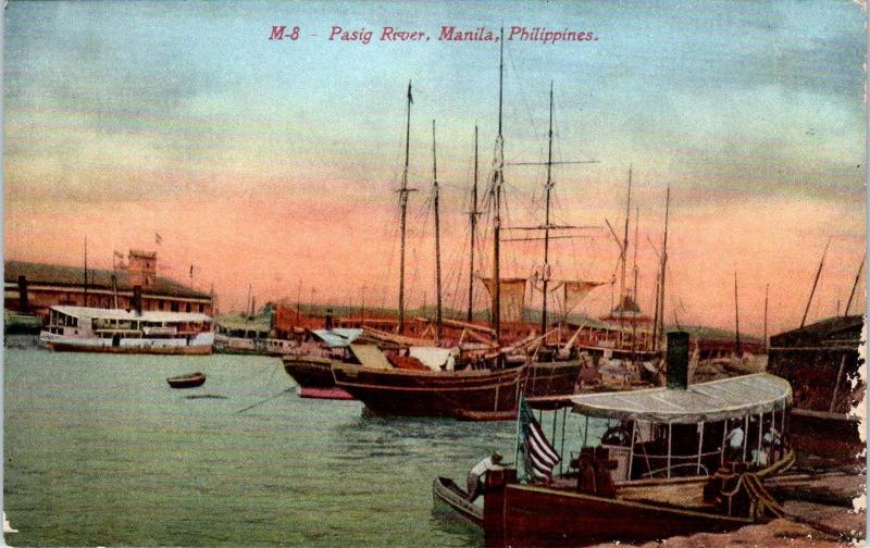 MANILA, Philippines    View on PASIG RIVER- BOATS   c1910s    Postcard