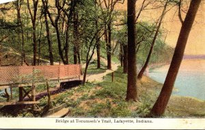 Indiana Lafayette Bridge At Tecumseh's Trail 1910