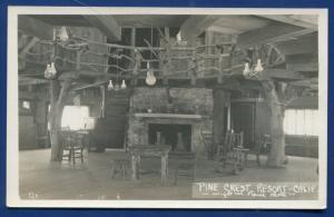 Pine Crest Resort California ca Interior view view old auto photo postcard