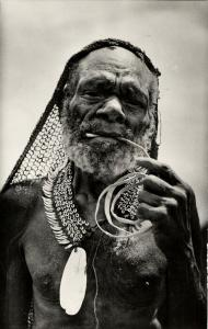 dutch new guinea, Native Old Papua Man from Paniai Lakes, Necklace (1950s) RPPC