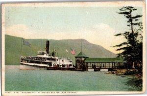 Steamer Sagamore at Silver Bay on Lake George NY c1916 Vintage Postcard R21