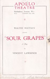 Sour Grapes Walter Hackett Constance Cummings Theatre Programme