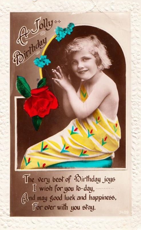 Yellow Convict Prison Arrows Dress Antique Childrens Fashion Birthday Postcard