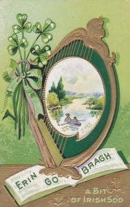 IRELAND, PU-1911; Erin Go Bragh A Bit of Irish Sod, Clovers, River View