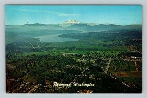 Redmond WA- Washington, Aerial View, Sammamish River Mt Rainier, Chrome Postcard