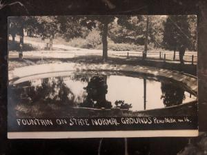 Mint Peru NE USA RPPC Postcard Fountains On State Normal Grounds