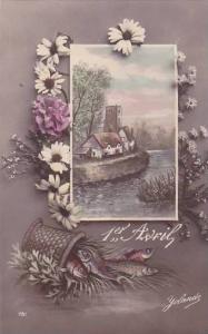 1er Avril April Fool's Day Basket Of Fish With Landscape Scene