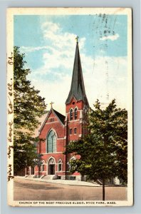 Hyde Park MA, Church Of The Most Precious Blood, Vintage Massachusetts Postcard