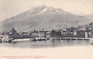 LUZERN, Switzerland , 1900-10s : Bahnhof mit Pilatus