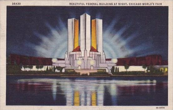 Beautiful Fedral Building At Night Chicago World's Fair 1933-34 Curteich