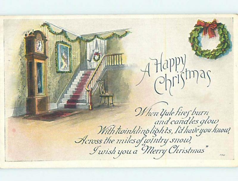 1919 Santa Claus ON RED CROSS CHRISTMAS SEAL STAMP ON BACK OF POSTCARD hk9171