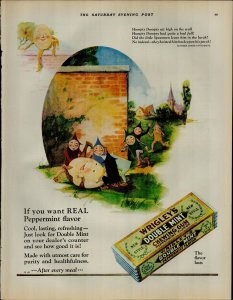 1927 Wrigley's Double Mint Gum Humpty Dumpty Vintage Print Ad 3901