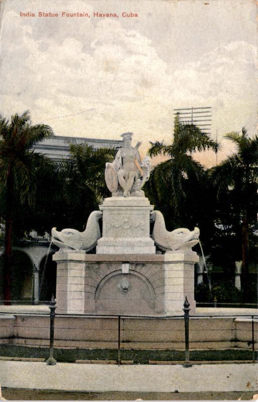 India Statue Fountain, Havana Cuba c1911Antique Postcard F12