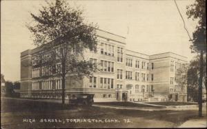 Torrington CT High School c1920 Real Photo Postcard jrf