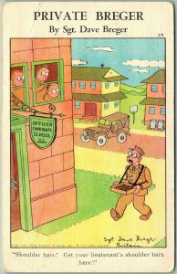 1940s Military Comic Postcard PRIVATE BREGER #314 - Selling Shoulder Bars WWII