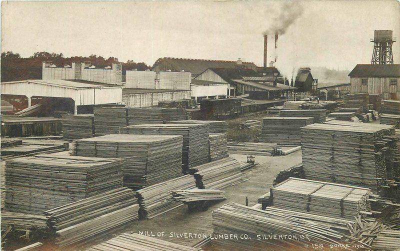 1910 Silverton Lumber Company Mill Logging Marion Oregon Drake RPPC Real Photo