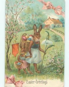 Pre-Linen Easter HUMANIZED BUNNY RABBIT WEARING CLOTHES AND GLASSES AB3318