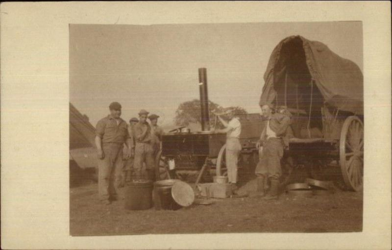 WWI Soldiers in Germany 1918 Cook Wagon Mess Set Up Real Photo Postcard