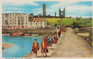 Students Walk Graduation Style St Saint Andrews Scotland Mint 1970s Postcard