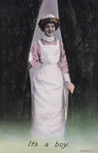 Its A Boy Announcement Antique Nurse Postcard