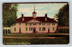 Mt Vernon VA, Mansion, West View, Cupola, c1910, Vintage Virginia Postcard