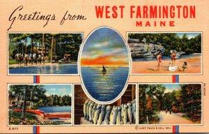 Maine Greetings From West Farmington Multi View 1941 Curteich