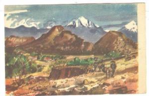 Water Color by: C. X. Carlson, Men & Donkey, Ixtapalapa, Mexico, 1900-1910s