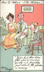 How to Behave For Children - Harry Parlett Comic c1910 Postcard