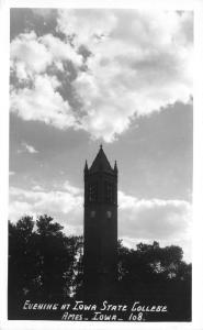 Ames Iowa~Iowa State College-University~Campanile @ Sunset~1940s RPPC Postcard