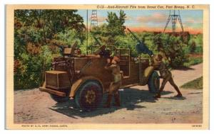 1944 Anti-Aircraft Fire from Scout Car, Fort Bragg, NC Postcard