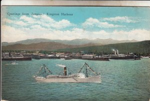 P1937 old postcard birds eye view ships harbor hills kingston jamiaca unused