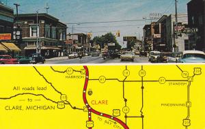 Main Street & Map , CLARE , Michigan , 1960s; Drug Store
