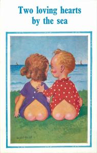 Donald McGill two loving hearts by the sea children couple comic caricature