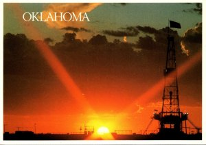 Oklahoma Elk City Sunset Over Oil Drilling Rig